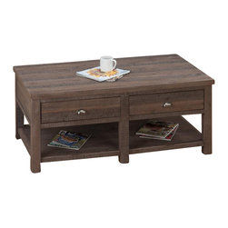 Jofran - Jofran Coffee Table in Falmouth Weathered Grey - Jofran - Coffee Tables - 5351 - Like its coordinating end table but in a slightly smaller size this chairside table has a natural worn beauty to suit your transitional tastes. Constructed of solid acacia wood this piece features a wire brushed rough hewn finish that brings out the beauty in the wood. A small storage drawer with an industrial-inspired hardware pull supplies a place for keeping cards or pens while an under-tier shelf can act as storage or display. Pair this piece with its matching cocktail table and end table for a three piece set.