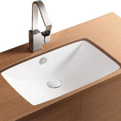 Caracalla - Rectangular White Ceramic Undermount Bathroom Sink - Stylish rectangular sink for the bathroom designed by Caracalla in Italy. Contemporary ceramic bathroom sink has curved basin with overflow. Washroom sink is mounted below vanity or countertop and does not have faucet holes. No faucet holes. Contemporary style. Mounted under countertop. With overflow. Made by Caracalla. Standard drain size of 1.25 inches.