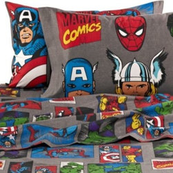 """Disney - Disney Marvel Heroes """"Super Heroes"""" Printed Sheet Set - The Marvel Heroes """"Super Heroes"""" Sheet Set is great for any super hero fan. With images of classic super heroes like Spider-Man, Incredible Hulk, Captain America, and Iron Man, the sheets are perfect for any super hero themed room."""