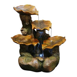 Alpine Fountains - Polyresin Leaf Fountain - Made from cement, sand, polyresin and stone powder. 1 Year Limited Warranty. Assembly Required. Overall Dimensions: 19 in. L x 15 in. W x 20 in. H (15.84 lbs)This multi-tiered fountain has the look of aged bark, green leaves and natural stone.  Multiple streams of water flow create a relaxing and meditative atmosphere. They can be placed indoors or out.