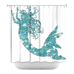 DiaNoche Designs - Shower Curtain Artistic - Mermaid Aqua - DiaNoche Designs works with artists from around the world to bring unique, artistic products to decorate all aspects of your home.  Our designer Shower Curtains will be the talk of every guest to visit your bathroom!  Our Shower Curtains have Sewn reinforced holes for curtain rings, Shower Curtain Rings Not Included.  Dye Sublimation printing adheres the ink to the material for long life and durability. Machine Wash upon arrival for maximum softness on cold and dry low.  Printed in USA.
