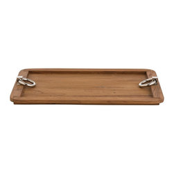 Arteriors - Isla Tray, Large - This wooden tray features rounded corners and polished nickel metal ring handles.