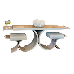COUEF - Giana Console Table and Two Classic Stools - The Giana Console Table and Two Giana Classic Stools are perfectly paired chic set. An inverted arched pedestal base crafted in solid wood gives off a more airy aura. The console table offers a signature COUEF pullout shelf at each of the  table extending the surface. The stools each have a pullout shelf which adds even more space.  Perfect for entertaining when space is limited!