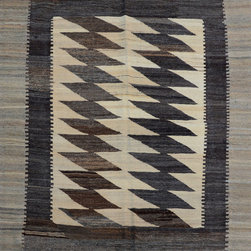 "ALRUG - Handmade Beige Oriental Kilim  4' 11"" x 6' 4"" (ft) - This Afghan Kilim design rug is hand-knotted with Wool on Wool."