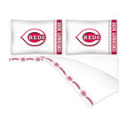 Sports Coverage - MLB Cincinnati Reds Queen Bed Sheet Set Baseball Bedding - FEATURES: