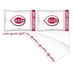 Sports Coverage - MLB Cincinnati Reds Queen Bed Sheet Set Baseball Bedding - Features: