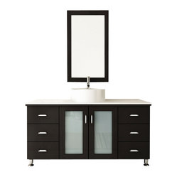 "JWH Imports - 47"" Grand Lune Large Single Vessel Sink Modern Bathroom Vanity with Stone Top - Go ..."