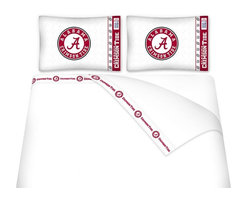 Sports Coverage - Sports Coverage NCAA Alabama Crimson Tide Microfiber Hem Sheet Set - Queen - NCAA Alabama Crimson Tide Microfiber Hem Sheet Set have an ultrafine peach weave that is softer and more comfortable than cotton. Its brushed silk-like embrace provides good insulation and warmth, yet is breathable.   The 100% polyester microfiber is wrinkle-resistant, washes beautifully, and dries quickly with never any shrinkage. The pillowcase has a white on white print beneath the officially licensed team name and logo printed in vibrant team colors, complimenting the new printed hems.    Features: -  Weight of fabric - 92GSM ,  - Soothing texture and 11 pocket,  -  100% Polyester,  - Machine wash in cold water with light colors,  - Use gentle cycle and no bleach ,  - Tumble-dry,  - Do not iron ,
