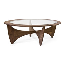 Curved Walnut Coffee Table - The organic beauty of the Curved Walnut Coffee Table is set apart by its natural wood grain pattern. Rounded glass is paired with an unorthodox design, making it the ideal addition to your living space.