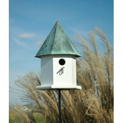 Heartwood - Copper Songbird Deluxe Bird House Verdi Roof - This  beautiful  birdhouse  is  the  perfect  addition  to  any  home  or  garden  of  your  choice.  A  version  of  our  Copper  Songbird  with  perfect  bluebird  dimensions  and  exceptional  songbird  satisfaction  is  sure  to  delight  you  and  your  winged  friends.  This  bird  house  is  one  you  are  sure  to  enjoy  in  the  years  to  come.  Available  in  different  colors.                  10x10x18              1-1/2  hole              Available  in  verdi  roof  or  brown  roof              Handcrafted  in  USA  from  renewable,  FSC  certified  wood