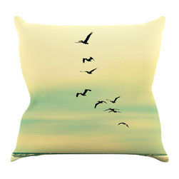 """Kess InHouse - Robin Dickinson """"Across The Endless Sea"""" Birds Throw Pillow (16"""" x 16"""") - Rest among the art you love. Transform your hang out room into a hip gallery, that's also comfortable. With this pillow you can create an environment that reflects your unique style. It's amazing what a throw pillow can do to complete a room. (Kess InHouse is not responsible for pillow fighting that may occur as the result of creative stimulation)."""