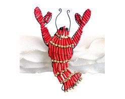 Beaded Lobster Napkin Ring - Red - It may call to mind a sojourn to a faraway shore, a summer passed beside the sea, a season of sunlight and laughter when memories were collected like shells. The Beaded Lobster Napkin Ring - Red whimsically captures this symbol of summer repasts, and imparts wonderful charm to your dining room tablescape, an outing on the terrace, or a picnic luncheon along the ocean.