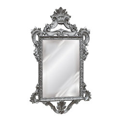 """Lamps Plus - Traditional Templar 39"""" High Antique Silver Leaf Rectangular Wall Mirror - I love the lines of this mirror, and the finish is so lovely. I could see it looking great in a powder room."""
