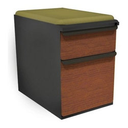 Mobile Pedestal with Fennel Fabric Seat and Laminate Front File Drawer / Storage - The Mobile Pedestal with Fennel Fabric Seat and Laminate Front File Drawer / Storage Drawer - 23 in. gives your office two things it always needs more of: seating and storage. This dual-purpose pedestal has one box drawer and one file drawer and is topped with a comfy cushion in fennel green.