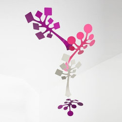 Schmitt Design - Sprig Mobile by Schmitt Design - A unique blend of organic and geometric elements distinguishes the Schmitt Design Sprig Mobile. The distinctive shapes are made out of lightweight laser-cut aluminum and hung horizontally for optimal viewing. The contrasting tones within the vibrant, glossy colorways enhance the graphic lines of the branches and their overall sense of peace of playfulness. In 2012, Schmitt Design became the new name for Adrift Mobiles, founded by Brian Schmitt. The name change came about as, while still specializing in contemporary mobiles for adults, the company has expanded to include a line of award-winning modern lighting, clocks and furniture. All Schmitt Design pieces are created and manufactured in Sacramento, California.