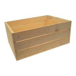 MGS Inc. - 22-inch Wooden Crate - The ideas are endless with the 22-inch Wooden Crate.  Unfinished solid pine that is ready for your personal touch.  Add a warm rustic feeling to any room or decor no matter what it may hold.  Nesting crates for easy storage - sizes for purchase include 22-inch, 20-inch, 18-inch, 16-inch, 14-inch or buy them all together in the 5pc Set.