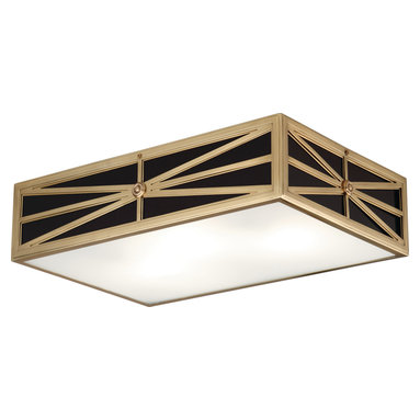 Robert Abbey - Directoire Flushmount - Regale your ceiling with this neoclassically inspired flushmount fixture. In your choice of two sizes, the base is a rectangle made of antiqued brass with angular cutouts to reveal a shade made of glossy black and opaque white glass. In your kitchen, bath, hallway or office, this light heralds the elegance of a fine antique in a thoroughly modern way.