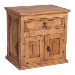 Mexican Pine Nightstand - This is one of our hottest selling nightstands! Two doors, one drawer and plenty of storage space. Perfect next to your bed as a nightstand or next to your couch as an end table. Rustic pine furniture from Mexico. Each piece is Solid wood and assembled by hand. This item is typically in stock and ready to ship right away!