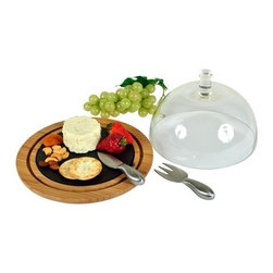 Picnic at Ascot - Provence Bamboo & Slate Cheese Board With Glass Dome by Picnic at Ascot - Our Provence Bamboo & Slate Cheese Board With Glass Dome by Picnic at Ascot comes with two stainless steel cheese tools and glass dome to keep cheese fresh when entertaining.