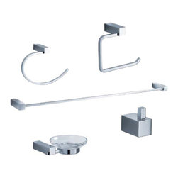 "Fresca - Fresca Ottimo 5-Piece Bathroom Accessory Set - Chrome - Fresca Ottimo 26"" Towel Bar (FAC0437) - Dimensions:  26""W x 3""D x 1""H. Fresca Ottimo Soap Dish (FAC0403) - Dimensions:  5.5""W x 5""D x 1.5""H. Fresca Ottimo Toilet Paper Holder (FAC0427) - Dimensions:  5""W x 2.5""D x 5.5""H. Fresca Ottimo Towel Ring (FAC0425) - Dimensions:  2.5""W x 5.5""D x 8.25""H. Fresca Ottimo Robe Hook (FAC0401) - Dimensions:  1""W x 1.5""D x 1.5""H. Heavy Duty Brass with Triple Chrome Finish. . . All of our Fresca bathroom accessories are made with brass with a triple chrome finish and have been chosen to compliment our other line of products including our vanities, faucets, shower panels and toilets.  They are imported and selected for their modern, cutting edge designs."