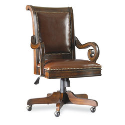 Hooker Furniture - Hooker Furniture European Renaissance II Tilt Swivel Chair 374-30-220 - Cherry and myrtle burl veneers with hardwood solids are an exquisite combination in the European Renaissance executive home office collection.