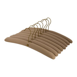 Enchante Accessories Inc - Raymond Waites Padded Clothes Hangers, Set of 8, Natural - Gently padded and covered in soft cotton fabric, this set of 8 padded hangers is perfect for use in any closet.  Whether you're a perfectionist at organization and need all of your closet accessories to coordinate, or you just want to hang a few special garments on protective hangers, this vintage inspired set lends style and added function to your closet design.