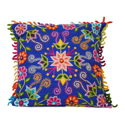 Hand-embroidered Pillow made in Peru, Blue - Add a blast of hand-crafted color to your interior with these magnificent hand-embroidered pillows of alpaca wool from Peru.  The colors and needlework are unsurpassed!