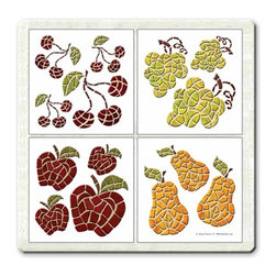 IdeaStix - Harvest Accents TileStix Peel and Stick Tile - TileStix transforms an ordinary tiles into beautiful art decorations.  Made from proprietary rubber-resin, Premium Peel and Stick Embossed Tile Decor Accents are made in the shape of the design motif.  Each of 4 sets of designs comes on 4.5 x 4.5 inches sheet.  With water/heat/steam-resistant, nontoxic, washable, removable and reusable features, it is ideal for kitchen backsplash and bath/shower tile cecoration and suitable for smooth and non-porous tile surfaces in hot, wet and humid areas.  It is also great for decorating porcelain, glass, non-porous plastic and metal accessories.   Surface can be washed with most household cleaning products.