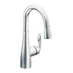 Moen - Moen CA5995 Chrome High Arc Pulldown Bar/Prep Faucet Single Lever Handle, ADA - The Moen CA5995 is an Arbor style single-lever-handled high-arc pull-down bar faucet that comes in a bright, highly reflective chrome finish, making it a space-saving addition to any 1 or 3-hole mount bar sink. The pull-down style spout features the Reflex pulldown system for smooth operation, movement, and docking, making quick, easy work of cleaning large sinks and awkward sized dishes. This faucet features a Hydrolock quick connect system that makes installation a breeze. This faucet comes with a lifetime limited warranty against leaks, drips, and finish defects to the original consumer purchaser, along with a 5-year limited warranty if used in commercial installations. This faucet meets the requirements of both the California AB1953 and Vermont S152.