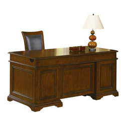 Wynwood - Wynwood Shelby County Executive Desk in Peppered Oak - This sophisticated Shelby County Executive Desk by Wynwood Furnitures would make a wonderful addition to any home office. The drop-front center drawer features a removable pencil tray and functions as a lap drawer or a keyboard tray. Each pedestal features a small felt-lined utility drawer with a pencil tray, a utility drawer with adjustable wood dividers and a fully extending file drawer. These drawers give you plenty of space to store your writing utensils, notepads, office supplies and business files. With round silver knob hardware with an antique finish, and side locks for the drawers, all of your work and files are kept safe and secure. A Peppered Oak finish completes this look.