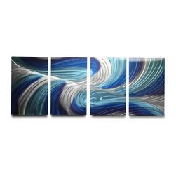 Miles Shay - Metal Wall Art Decor Abstract Contemporary Modern Sculpture- Echo 3 Blues V2 - This Abstract Metal Wall Art & Sculpture captures the interplay of the highlights and shadows and creates a new three dimensional sense of movement as your view it from different angles.