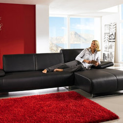 "Whiteline - Emotion Sectional Chaise in Black - Emotion Sectional Chaise; Sleek and modern sectional with chaise in black leather with chrome legs; Chaise is on left when facing.; Color: Black; Primary Material: Leather/Chrome; Assembly required; Weight: 240 lbs; Dimensions: 110""L x 37""W x 31/34""H"