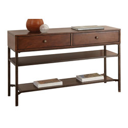 """Steve Silver Furniture - Steve Silver Hayden Sofa Table in Light Espresso - With rustic charm and plenty of storage space, the Hayden Collection minimizes clutter while maximizing simple country style. The Hayden sofa table stands 30"""" high, with a spacious 48"""" x 18"""" top, two roomy drawers and two shelves. This beautiful wood piece complements the Hayden end table and cocktail table."""