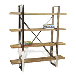 Kathy Kuo Home - Hatcher Modern Rustic Reclaimed Wood Polished Silver Bookshelf - Sleek, polished metal sets the scene for a rustic modern shelf that celebrates the natural beauty of reclaimed wood. Generous storage and ample style make the Thatcher shelves an excellent choice for industrial lofts and contemporary spaces of every stripe.