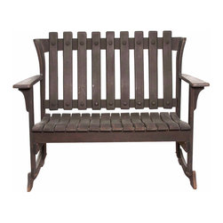 Slatted Wood Outdoor Bench - Vintage Condition with Age Approproate Wear.  Slatted Wood Outdoor Bench with Arms for two.  Great for in or outdoors.