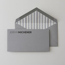 "Horchow - 50 Gray Flat Cards & Envelopes - Elegantly simple heavyweight stationery features hand-engraved personalization to add a sophisticated touch to correspondence. Gray flat cards, 3.875"" x 7.25"", feature a full name in black in fonts shown; specify up to 36 characters/spaces. Matching en..."