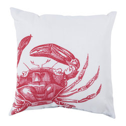 "Surya - Square Decorative Pillow RG-107 - 20"" x 20"" - Get swept up in the styling of the sea with this scintillating pillow! Featuring a boldly printed crab design in radiant red splashed across a creamy white backdrop; this piece creates a natural look perfect for any space. This pillow contains a Virgin Poly Styrene Bead fill providing a reliable and affordable solution to updating your indoor or outdoor decor."