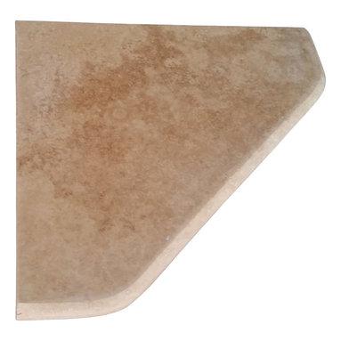 "Stone Zone - 8"" Travertine Shower Corner Shelf (Walnut) Stone Bathroom Caddy Soap Dish - Walnut Travertine Shower Corner Shelf"