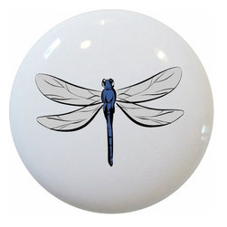 Carolina Hardware and Decor, LLC - Dragonfly Ceramic Cabinet Drawer Knob - New 1 1/2 inch ceramic cabinet, drawer, or furniture knob with mounting hardware included. Also works great in a bathroom or on bi-fold closet doors (may require longer screws). Item can be wiped clean with a soft damp cloth. Great addition and nice finishing touch to any room!
