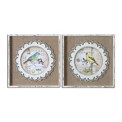 Uttermost - Uttermost Bird Stamps Framed Art Set of 2 - 55011 - Each piece is hand painted by accomplished artisans and may vary slightly in finish