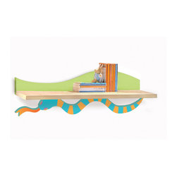 Little Lizard Wall Shelf - A colorful wiggly snake holds up this Little Lizard birch veneer wall shelf, ideal for hanging over the desk or changing table/dresser.