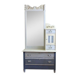 """Pre-owned Hand-Painted Antique Hotel Dresser - A unique, one of a kind, hand painted and up cycled antique hotel dresser in shades of old white and violet featuring a large removable mirror, 4 drawers and a hat cabinet. The framed oak mirror has beautifully carved detail. This is a one of a kind hand painted piece and as such there are imperfections that add to the charm and character.     Dresser, 56""""H; mirror, 26.5""""L x 56""""H x 3""""W. 42"""" L x 18.5"""" W x 112"""" H"""