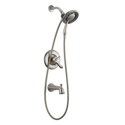 Delta - Delta T17494-SS-I Linden Monitor 17 Series Tub and Shower with In2ition Two-in-O - Delta T17494-SS-I Linden Monitor® 17 Series Tub and Shower with In2ition® Two-in-One Shower in StainlessThe stylish flares and unexpected curves of the Linden Bath Collection exude friendliness, and even a bit of whimsy.  Let the shower become your private sanctuary where body sprays and showerheads work in perfect harmony.  Delta Monitor® faucets help keep the water a constant temperature to ensure you and your family have a safe and comfortable shower experience day after day.  You emerge every day refreshed.  The Linden Bath Collection includes a full line of bathroom faucets with finishes and accessories to help you create the perfect retreat.Delta T17494-SS-I Linden Monitor® 17 Series Tub and Shower with In2ition® Two-in-One Shower in Stainless, Features:• 2.5 gpm, 9.5 L/min