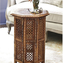 Ballard Designs - Marrakesh Side Table - The Marrakech side table is a gorgeous piece of global beauty for the home. It has intricate floral bone inlay and hand-carved quatrefoil patterns on the sides. I think it would add warmth and romance to any space.