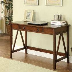 Linon - Titian Desk - Simple yet eye-catching design. Some Assembly Required. Antique Tobacco Finish. 45.98 in. W x 20 in. D x 30 in. H (39.95 lbs)Our Titian Collection has a simple yet eye-catching design that is matched with incredible durability. This versatile desk makes good use of space with ample work and display space. A single, wide drawer provides ample hidden storage space for small items. A neutral, classic Antique Tobacco finish allows this piece to easily complement your homes decor.