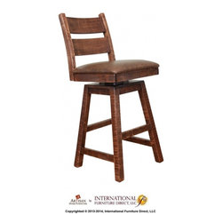 Artisan Home Furniture - Artisan Monte Carlo 30'' Swivel Barstool - Tops and sides are hand-distressed mango wood with an eight-step chocolate finish.  . Mortise and tenon case construction on all pieces. Handles feature solid cast-iron pulls.  Solid wood drawers feature front English dove-tail joinery and ball bearing glides. Bar includes  utility drawers and one shelf behind door and  bottle removable wine rack. Bar mirror includes glass holder on top of mirror  may up to  wine glasses. Also featuring a functional shelf for extra storage. Bookcase/ Wine rack features a contemporary diagonal design that may hold either bookcases and/or bottles and two deep drawers.