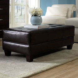 Leather Cocktail Ottoman, Riverside -