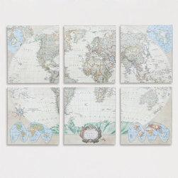 Six-Piece World Map Set, Set of 6 -