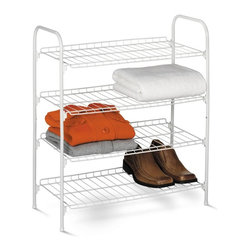 Honey Can Do - Honey Can Do 4 Tier Wire Shoe and Accessory Shelf/Closet Shelves Multicolor - SH - Shop for Closet from Hayneedle.com! Outfit your closet with some serious versatility by adding the Honey Can Do 4 Tier Wire Shoe and Accessory Shelf/Closet Shelves. This shelf has an epoxy-finished steel frame that is highly durable and sturdy enough to withstand wear-and-tear of daily use. With four wire shelves the shelf provides ample storage space for keeping sweaters shows towels and many other items. It has a compact design that makes it highly space-efficient and ideal for spaces like closets foyers laundry rooms and more.About Honey-Can-DoHeadquartered in Chicago Honey-Can-Do is dedicated to helping you organize your life. They understand that you need storage solutions that are stylish and affordable at the same time. Honey-Can-Do focuses on current design trends and colors to create products that fit your decor tastes while simultaneously concentrating on exceptional quality. When buying a Honey-Can-Do product you can be sure you are purchasing a piece that has met safety control standards and social compliance methods.