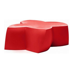 Heller - Frank Gehry Color Coffee Table, Red - Here's some flower power to energize your indoor or outdoor room. The twisted flower shape is molded from polyethylene in your choice of eye-popping colors and is waterproof and UV-protected to keep its bloom for years to come.